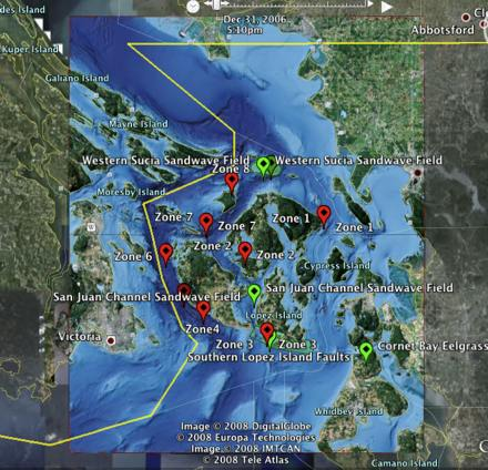 Screenshot of Google Earth with SeaDoc's bathymetry overlay.