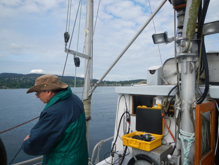 Dr. Cliff Robinson, co-investigator, deploying an underwater camera, June 2017 on the FV Misty Lady