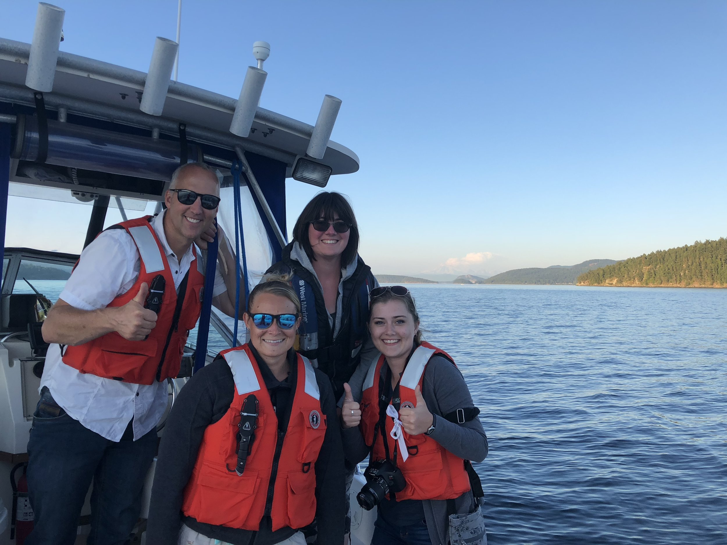 Left to right: Joe Gaydos,Alexa Dickson, Tamsen Polley, and Lauren Mathis aboard the Molly B.