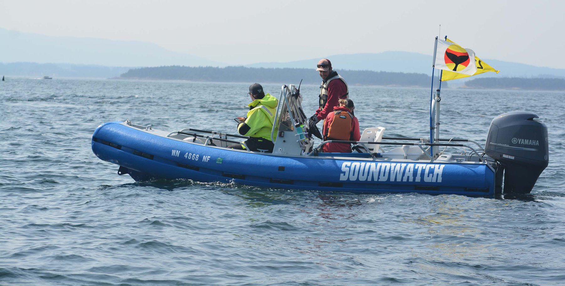 Tamsen helping track J35 and her calf aboard the Soundwatch boat.