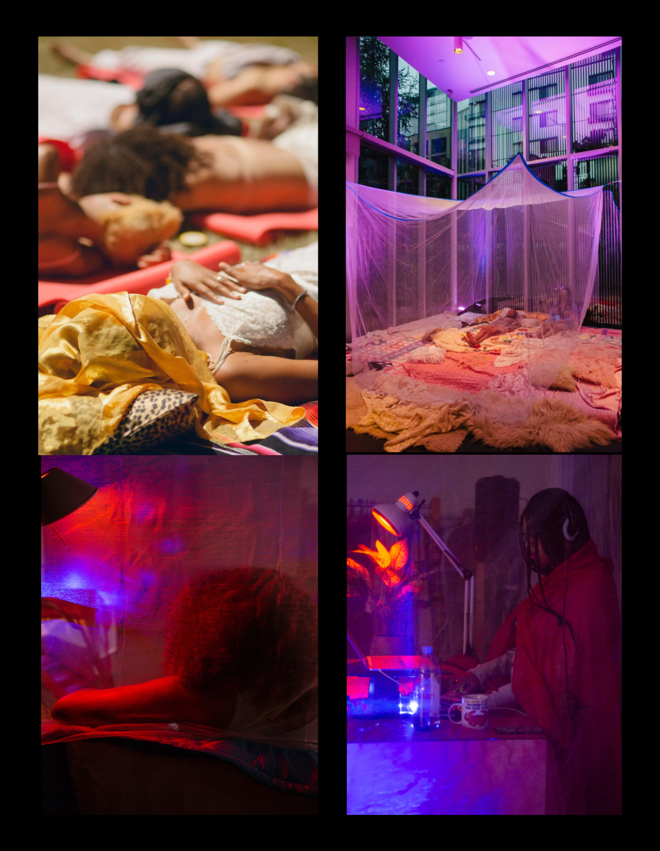 Top Left : Meditative sleep in Cal-Anderson Park Seattle; Top Right: Mia Imani Harrison and JOY MA in sleep protest at Seattle Art Museum's Olympic Park Sculpture; Bottom Left: Participant resting on sleep pads; Bottom Right: JOY MA playing sounds for participants during performance at Prairie Underground in Seattle.
