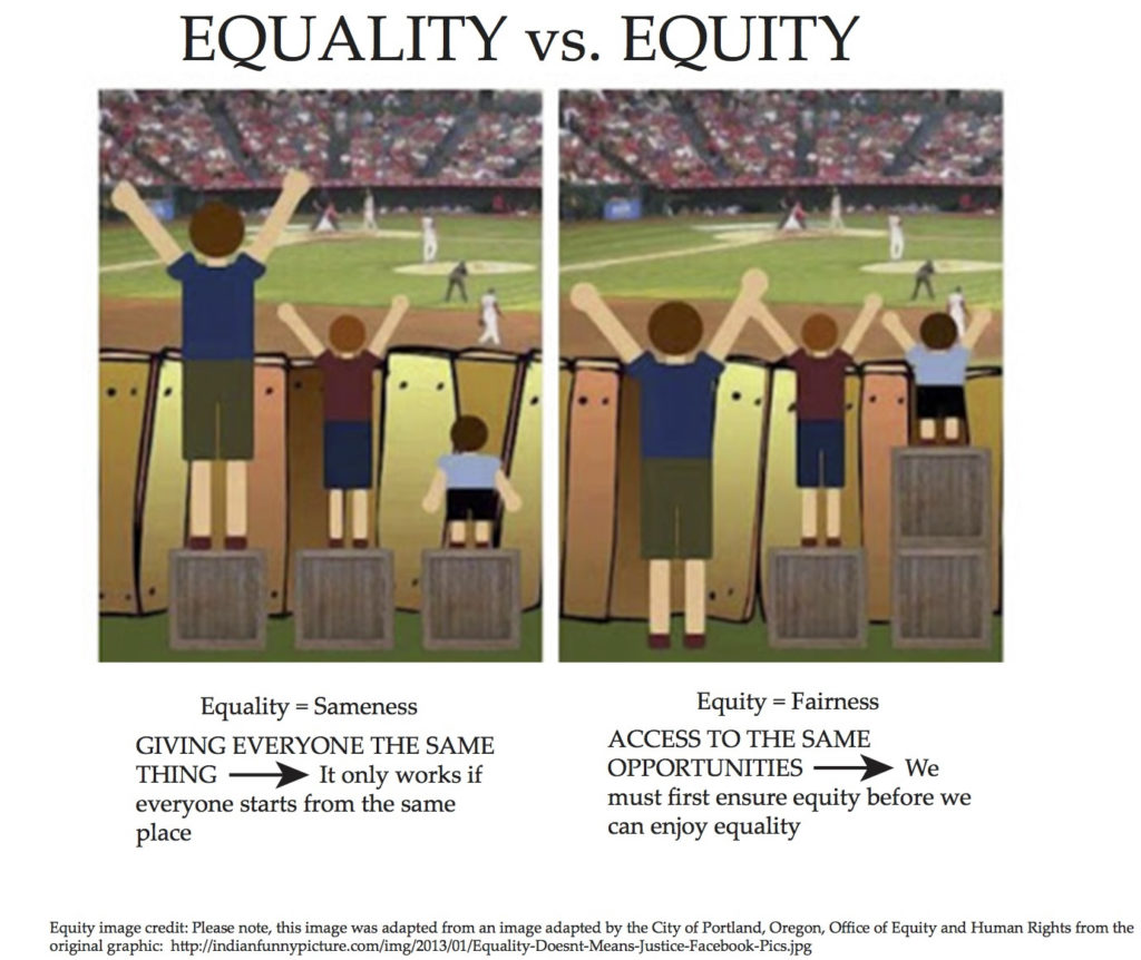 A photo showing the difference between equality and equity.  Source link.
