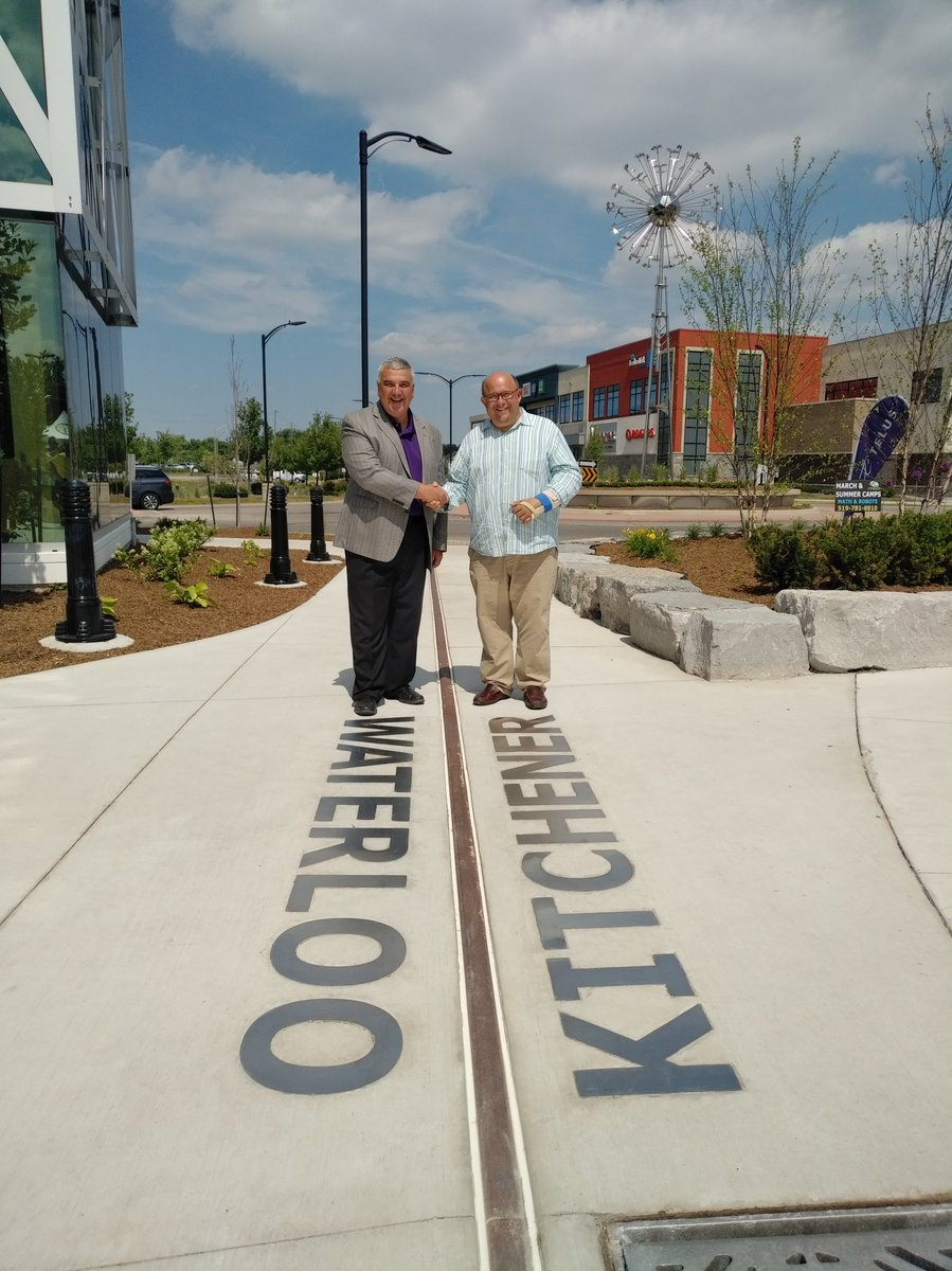 Photo of Mayors Jaworsky (Waterloo) and Vbranovic (Kitchener) at the Boardwalk. Source:  Twitter