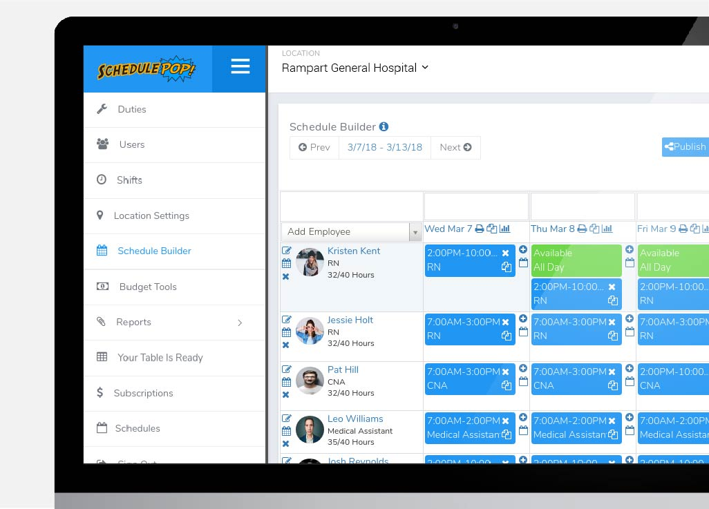 For Managers - Instant access to schedules and staff management toolsMulti-location visibilityScheduleBuilder complete shift creation and managementStaff communication and instant schedule notification via text, push, emailAutomated scheduling