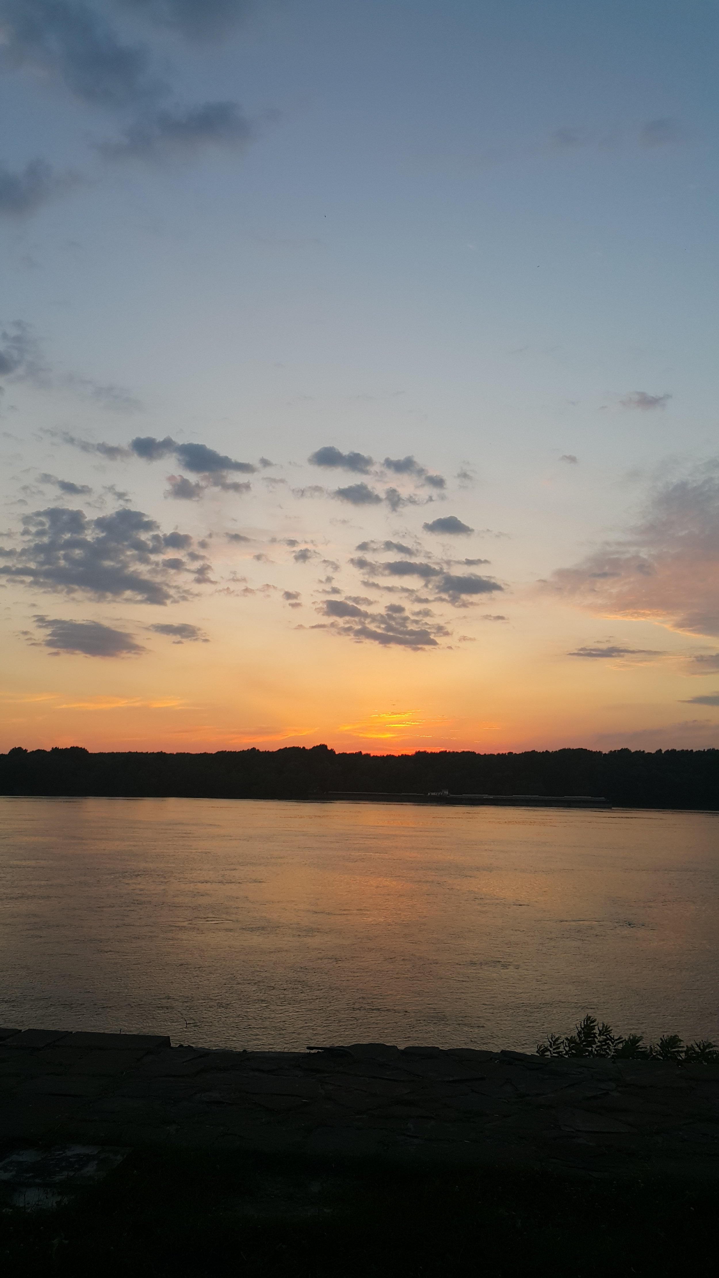 A sunset over Danube river in Ruse, Bulgaria