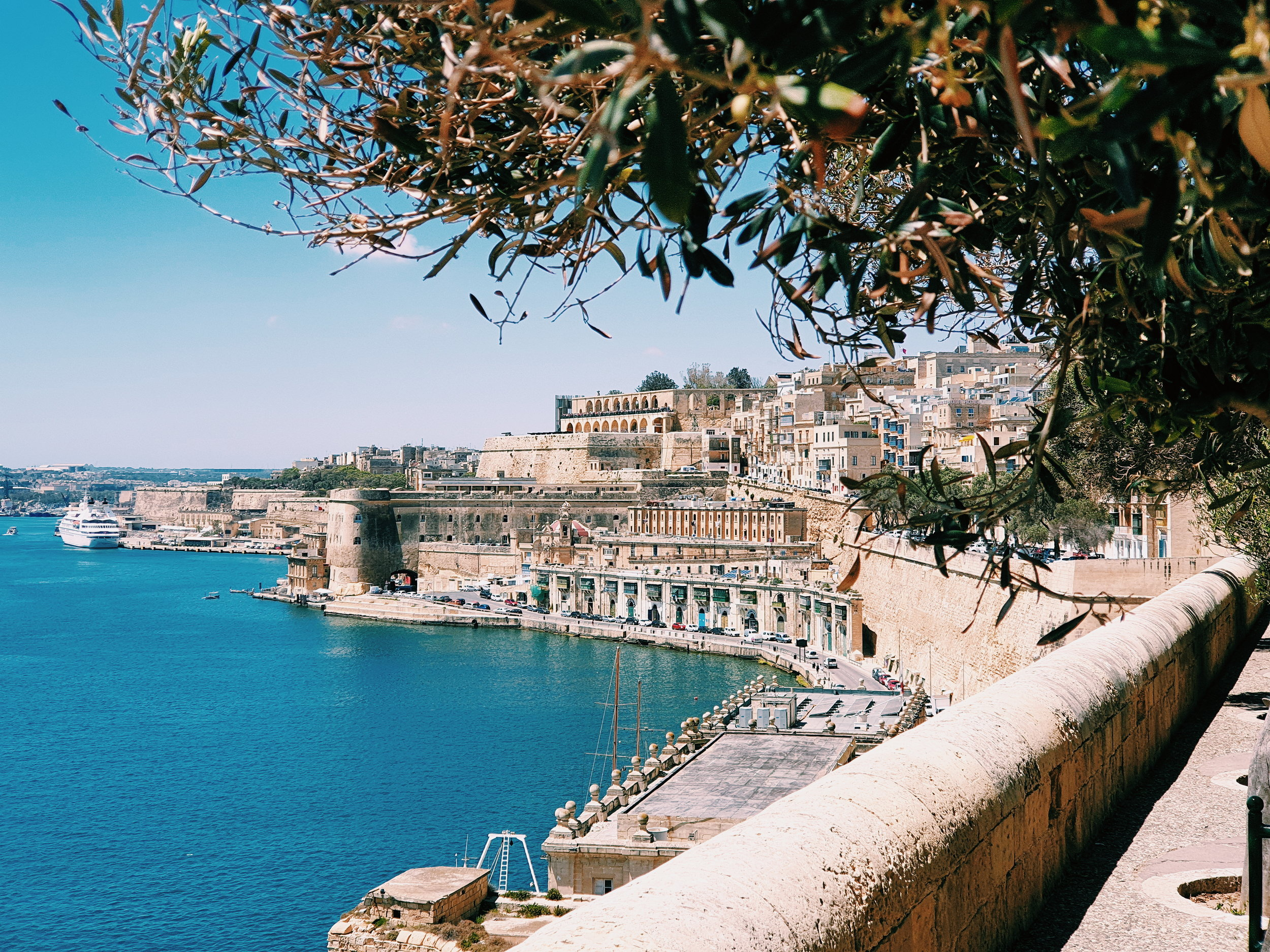 An Ocean view from the corner of Lower Barrakka Gardens in Valletta, Malta