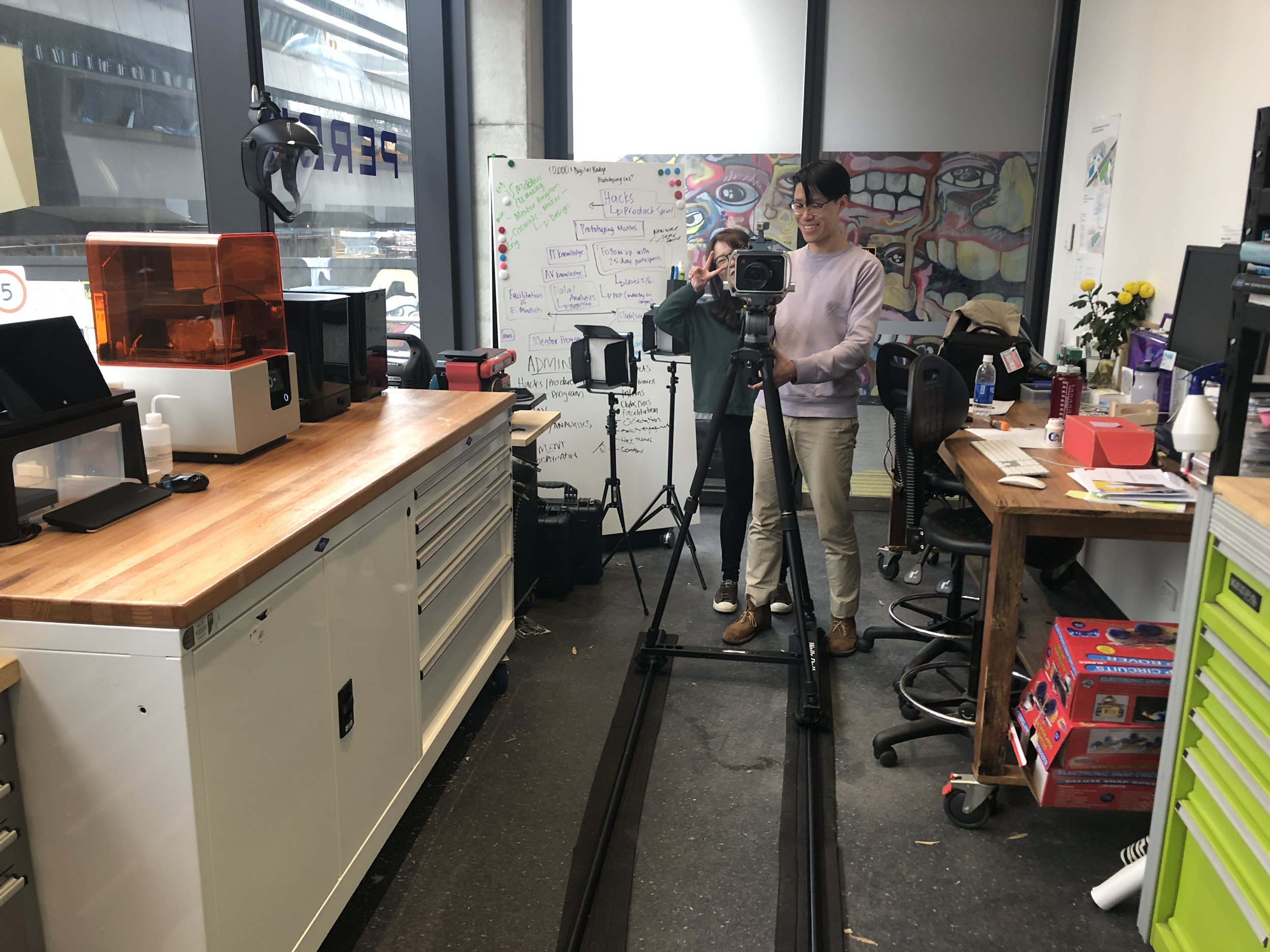 Camera dolley getting some nice shots of our manufacturing set up.