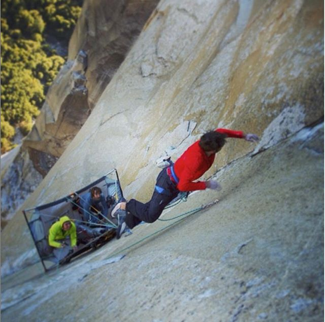 "Which route do you want us to replicate?  Repost @kjorgeson ""This is the last crux pitch on the dawn wall. It starts with an 8' 3"" horizontal dyno followed by 50 feet of solid liebacking..."" This infamous dyno is high up my wish list. The route is pretty hard to access, sitting on the middle of a 3,000 ft granite monolith halfway across the world... and the dynamic move looks like it'd be right at home in any bouldering gym!  You can see @kjorgeson and @tommycaldwell take on this dyno in their awesome doco The Dawn Wall."