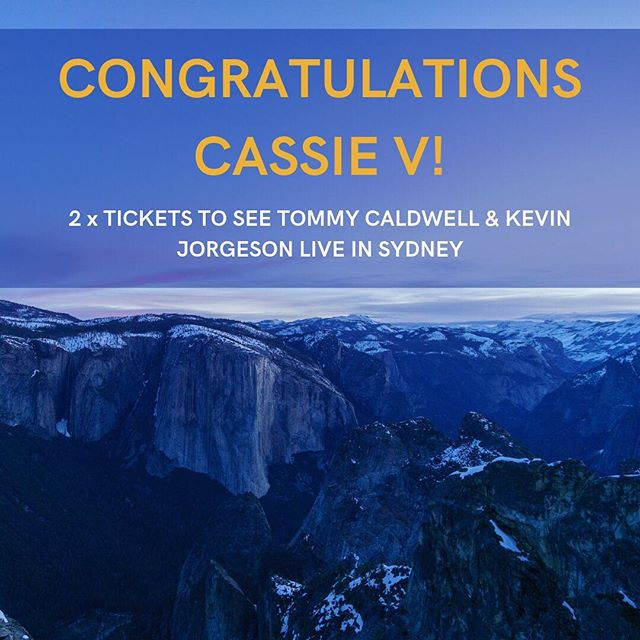 Winner winner chicken dinner  Congratulations to Cassie V who wins 2 tickets to see Kevin Jorgeson and Tommy Caldwell live on stage in Sydney. It's set to be an amazing night hearing two climbing legends talk about their accomplishment!  Thanks to all those who entered, we love seeing so much interaction from everyone. Stay tuned for more giveaways in the future!