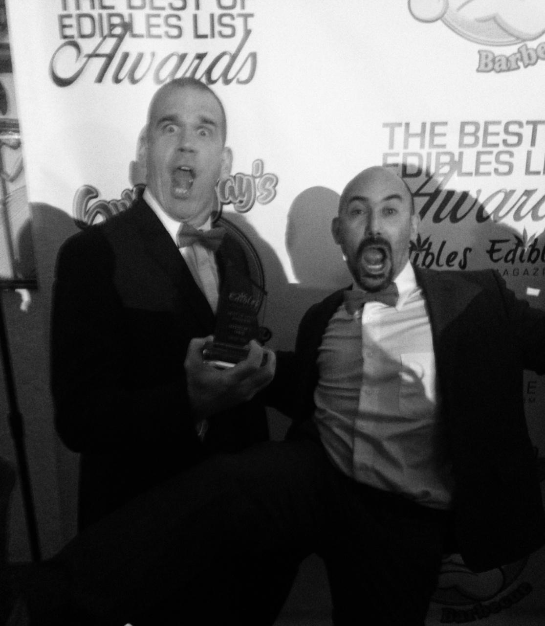 Billy and Dan, upon winning 1st Place Edible of the Year in the Tea category by Edibles Magazine, January 2017.