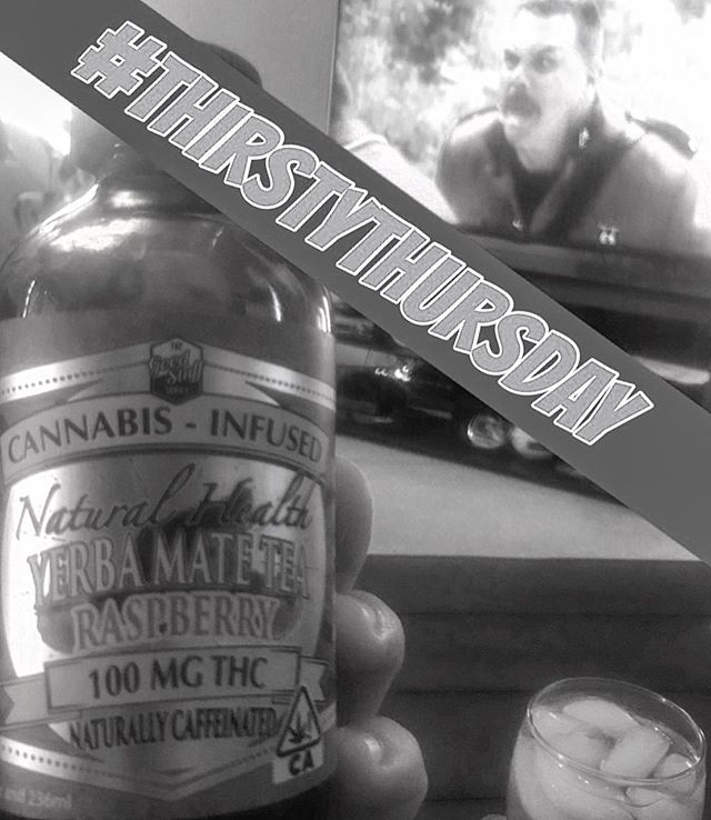 Cheers to #thirstythursday 🍻 Some tasty Raspberry #yerbamate with 100 mg of THC and some #supertroopers2