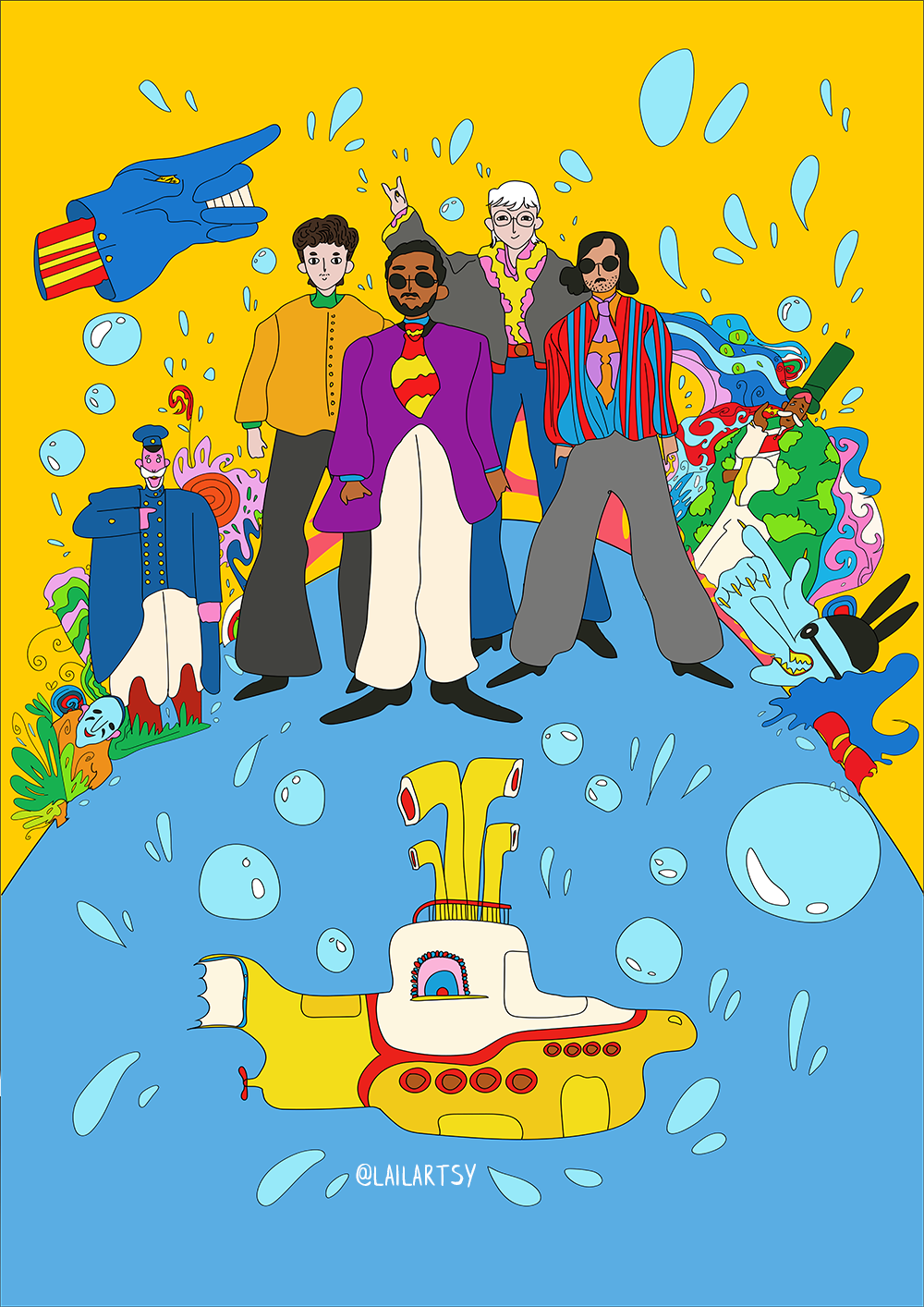 """Special poster for the brazilian tribute band of The Beatles. Inspired by the animated movie """"Yellow Submarine"""". Client:  Sergio Duarte ."""
