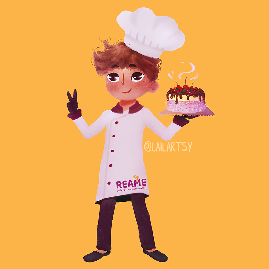 """This is the little mascot that I made for the project """"Pequeno Chef Gourmet"""" created by  REAME  — a brazilian NGO that promotes access to the rights of children and youth in social vulnerability by transforming them through community development."""