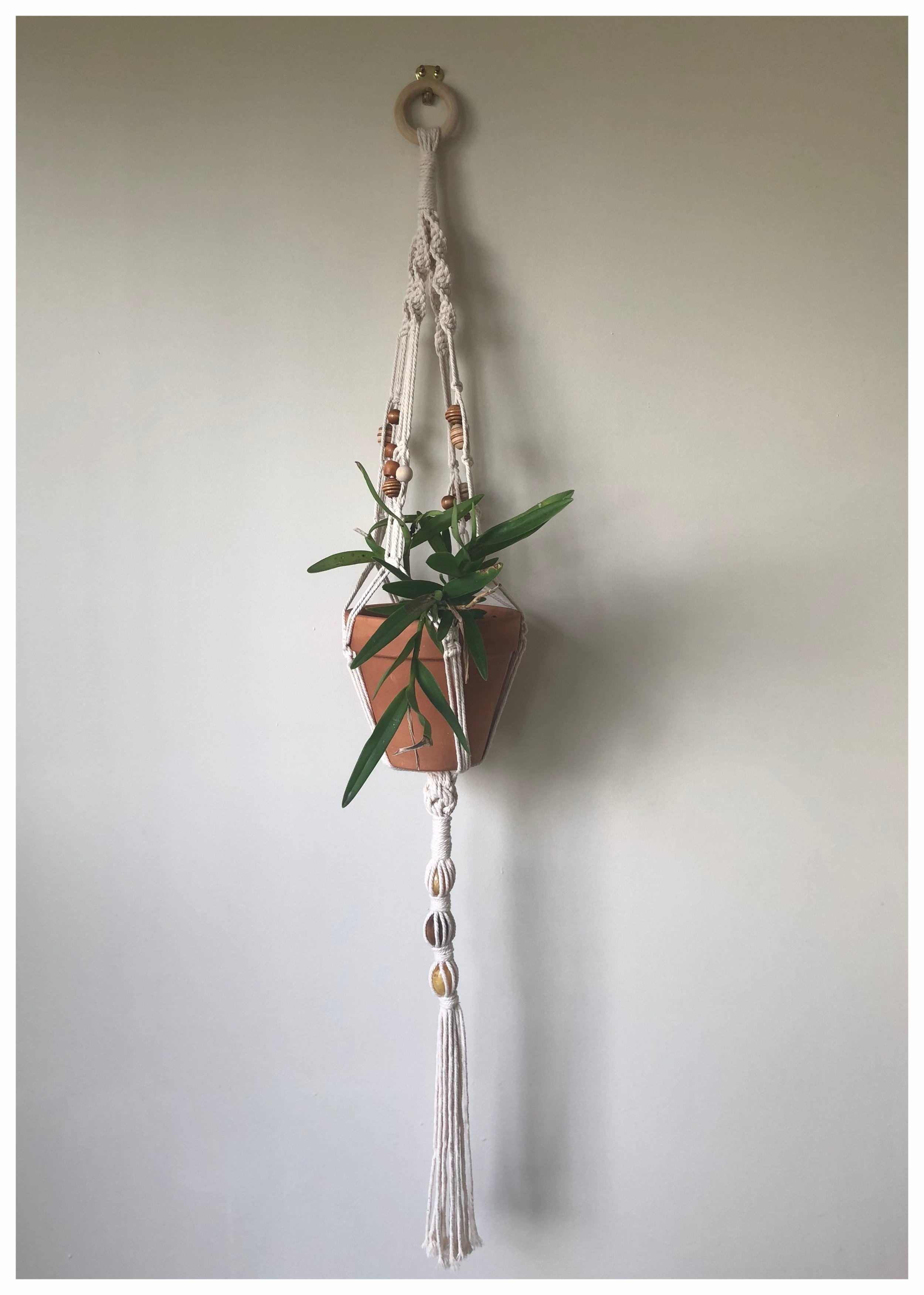 Handmade macrame plant hanger with 70's vintage bead detailing £45