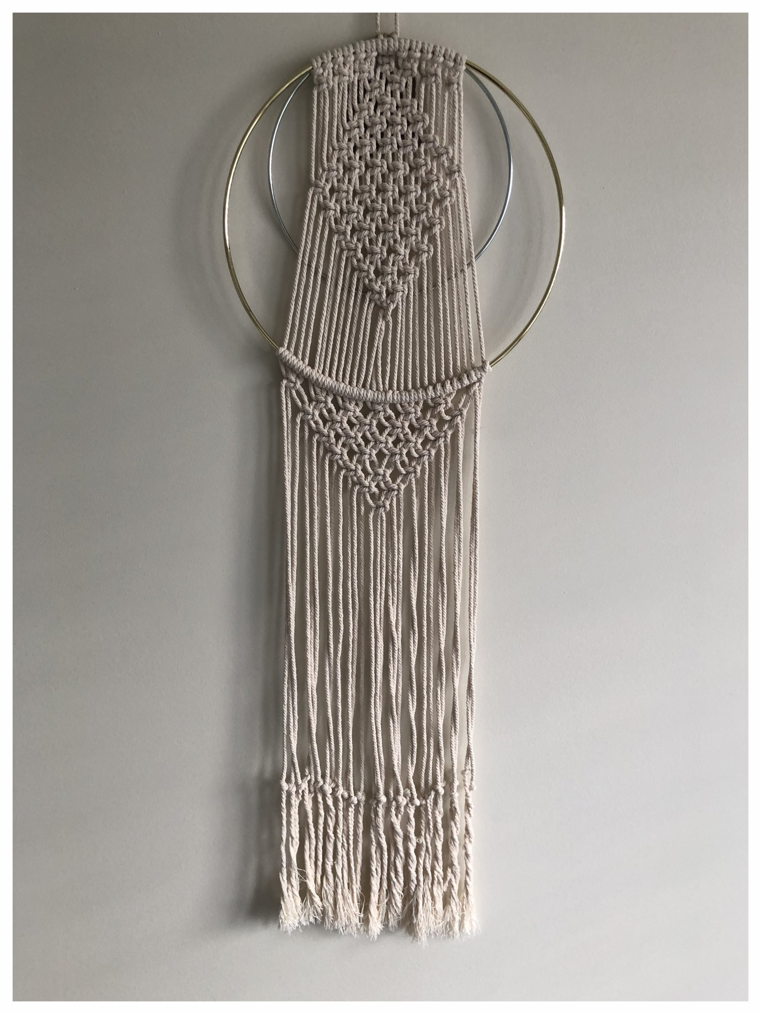 Handmade large macrame dream catcher with double ring feature £53