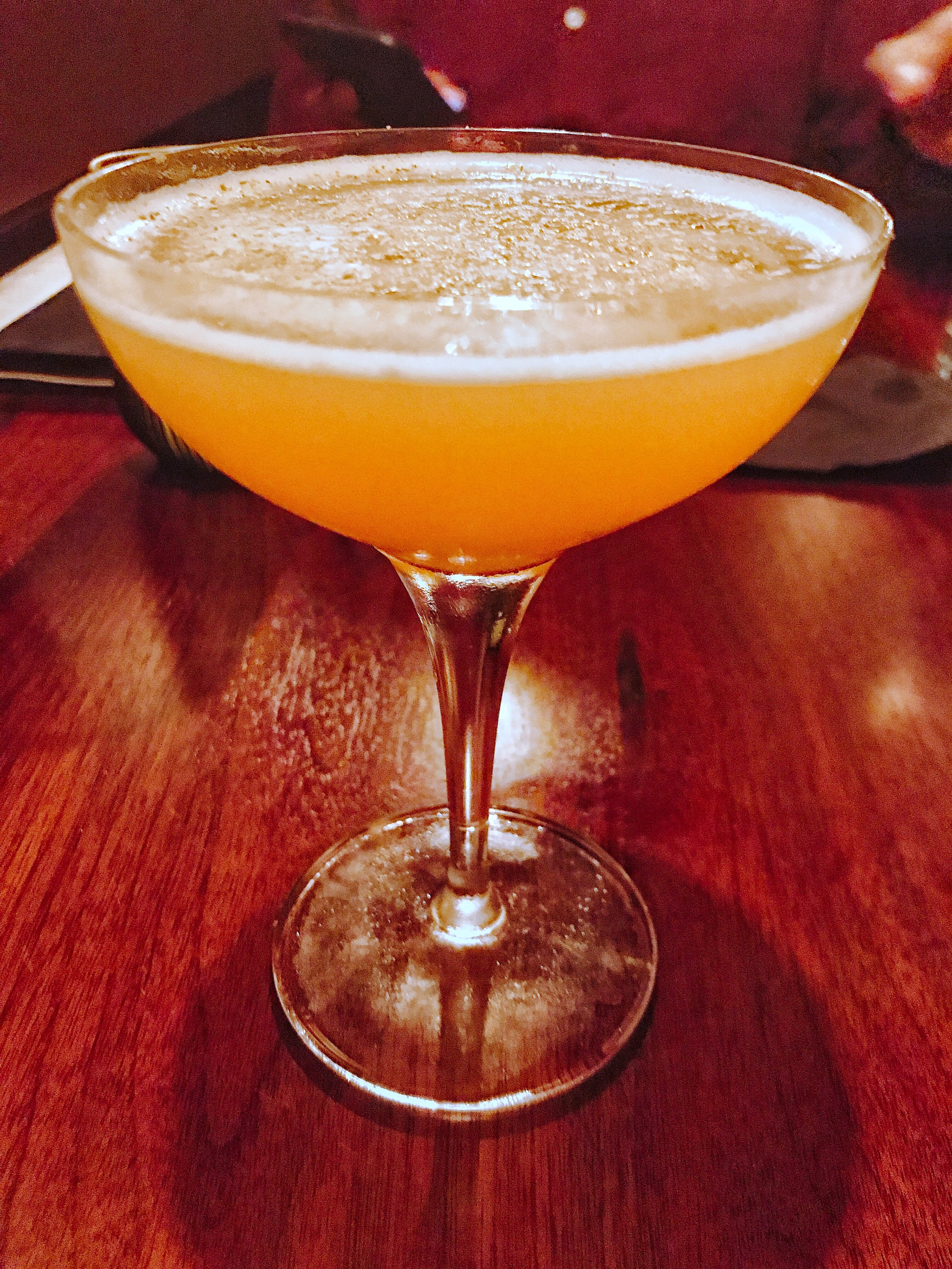 The Hildalgo Cocktail - Sailor Jerry Rum, orange curacao, lime juice, grilled pineapple, lemon bitters, nutmeg. A really tasty drink flavor wise. The pineapple comes through well so this is a great drink for those who want a drink on the fruity side. If you are a grilled pineapple fan, definitely try this drink. This drink just screams citrus & breach weather to help up keep the cold weather at bay(stay away fall)!