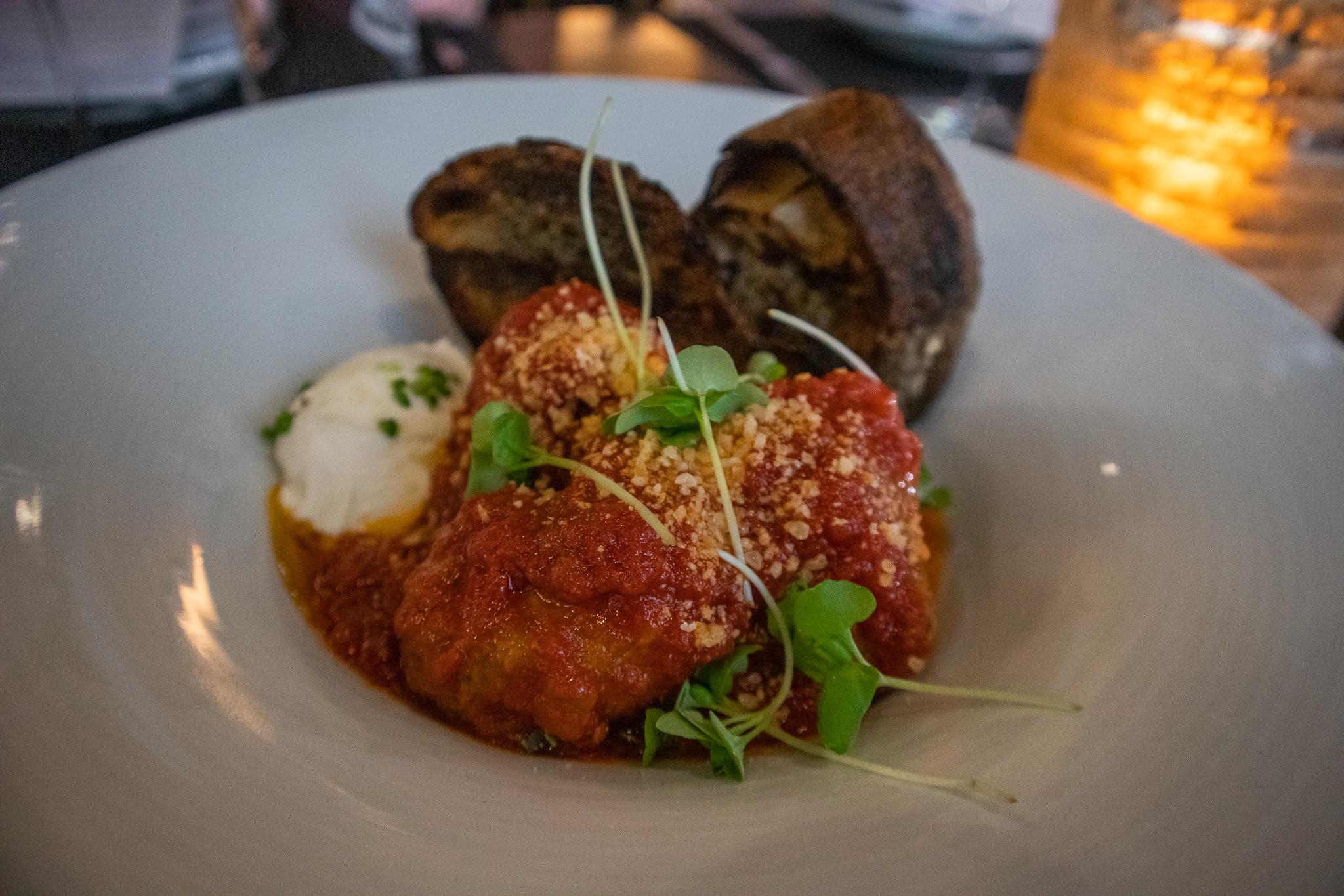 Rocco's Black Truffle Meatballs - Marinara Braised Meatballs, Black Truffle, Ricotta, Garlic Toast, Parmesan, Olive Oil