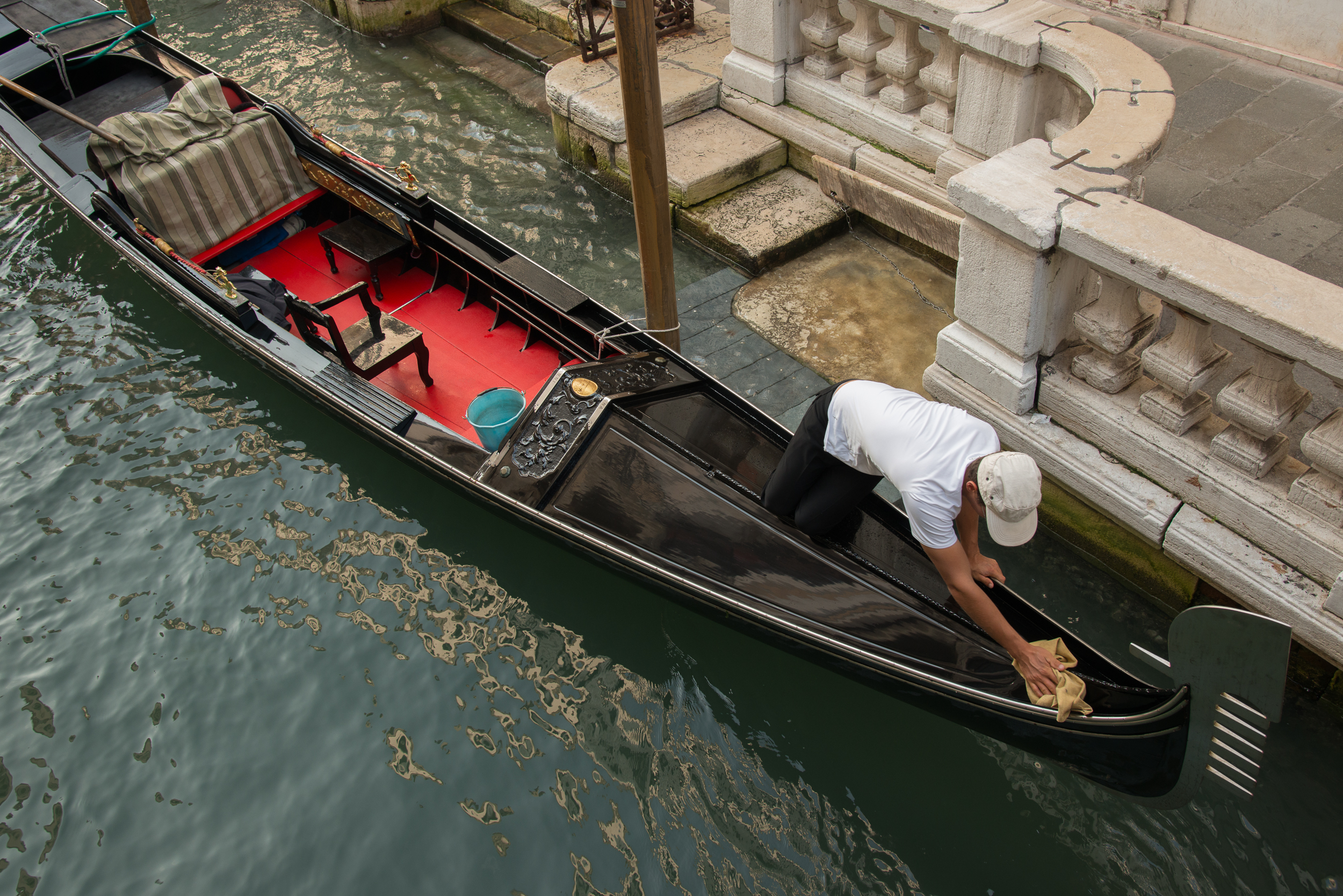 Early Morning Work Canal at Calle Canonica, Venice