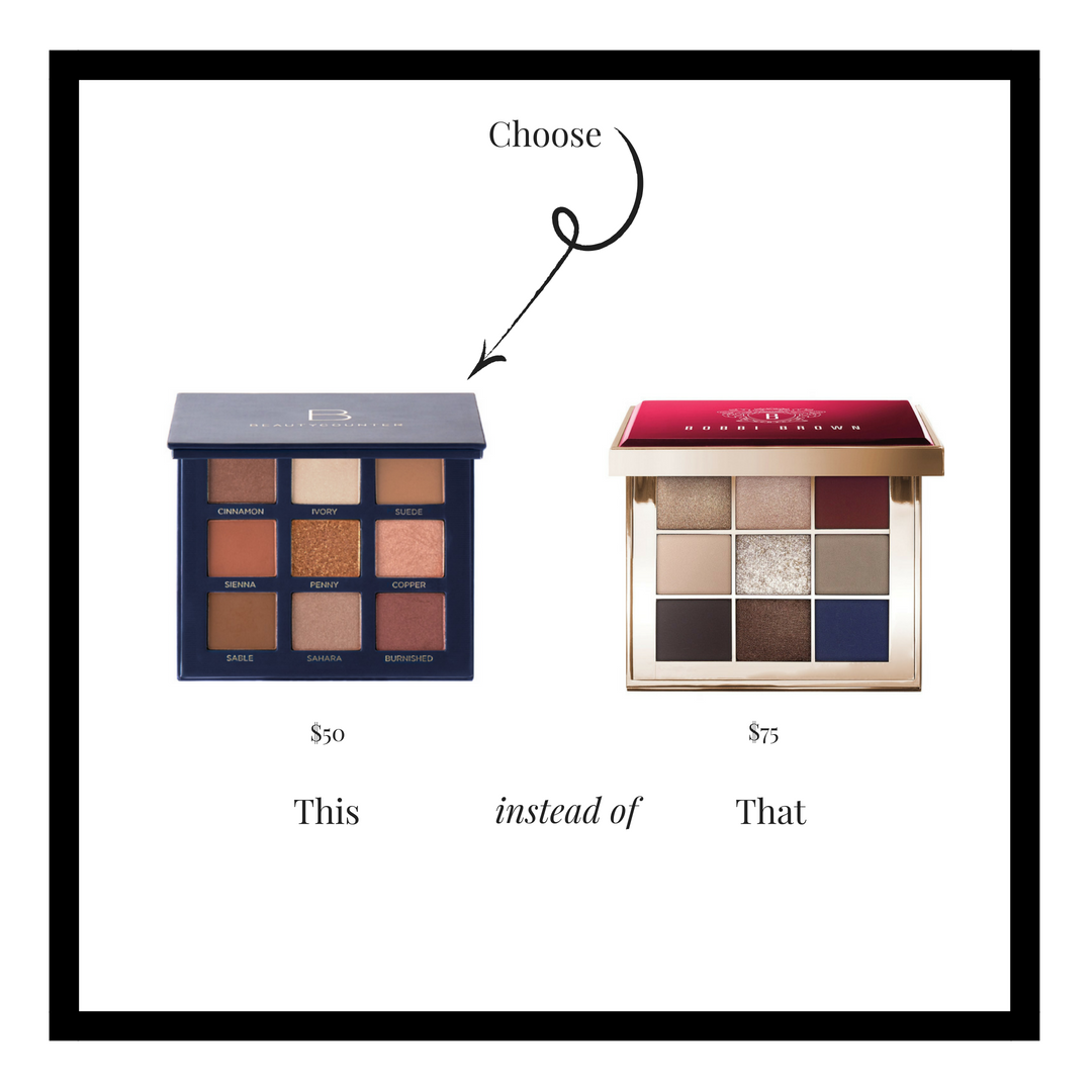 Sundrenched nudes and neutrals come together in a palette that's anything but ordinary. Flattering to all skin tones, it features nine safer shades in matte and satin finishes, including a sparkling topper shade to take your look from day to night.  Beautycounter's new eyeshadow formula is specially designed for rich color payoff and long-wearing performance, without the questionable ingredients. It's triple-milled to a precise, silky-smooth consistency and formulated with Butterpowder – an ingredient that boosts pigment and long-wear – so it lays down evenly and blends seamlessly. Includes removable mirror.