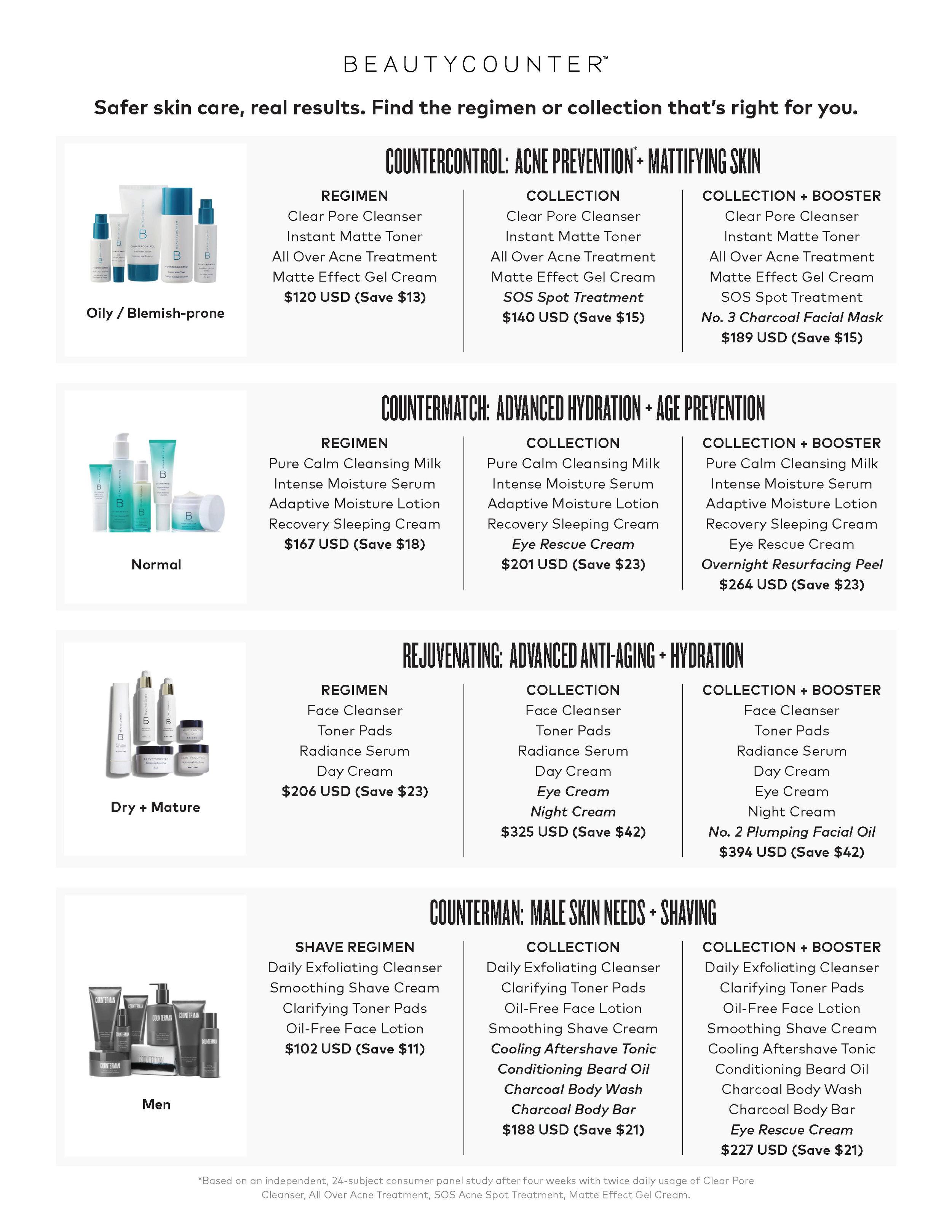 Skin Care Menu
