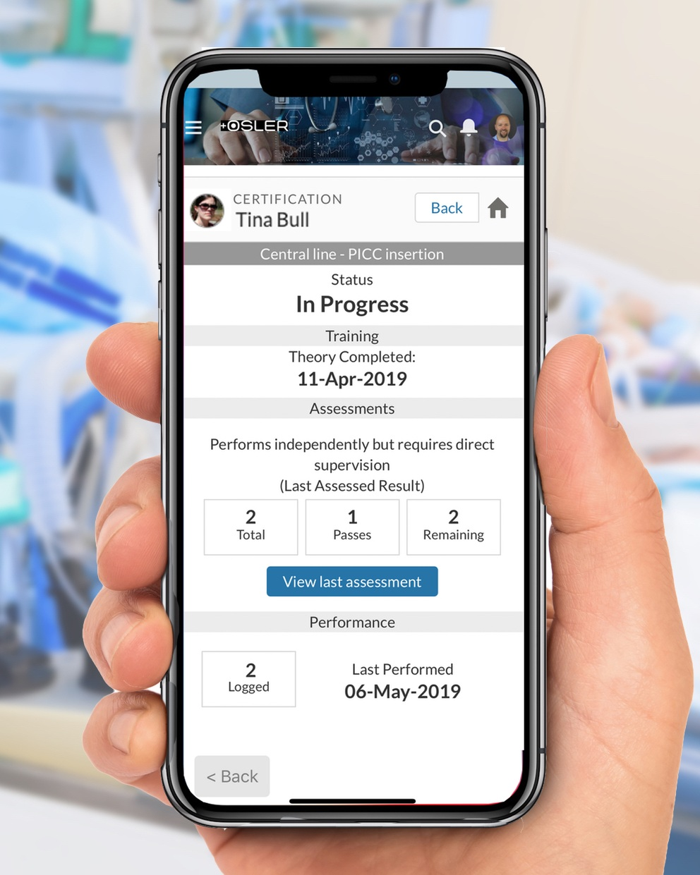 Information at your fingertips - To truly support the growth and development of your junior staff, you need understand what they can do right now.  Osler gives you realtime progress information on their progress, right there on your mobile device.