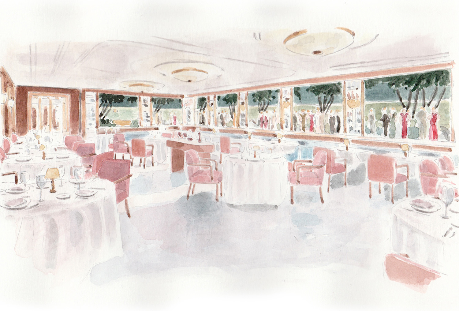 Watercolor of the interior of The Surf Club Restaurant