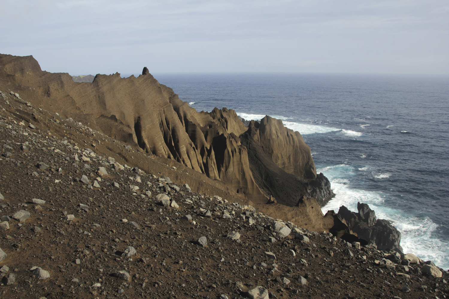Coastal cliffs forged from volcanic ash and wind and rain erosion (Otto Whitehead)