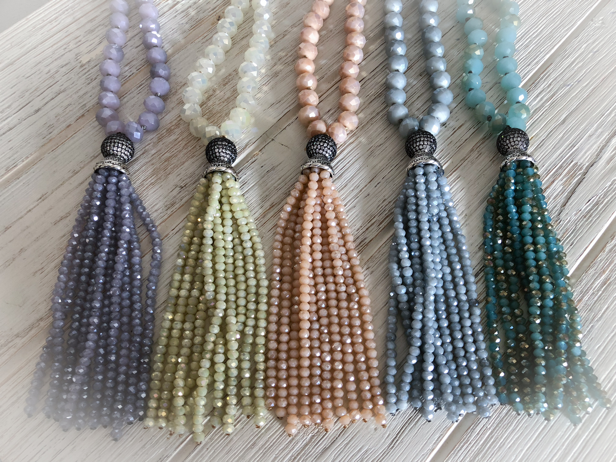 Crystal Tassel Necklace   To Purchase  email 88Jewels Ltd.  Please Include the name of item and color