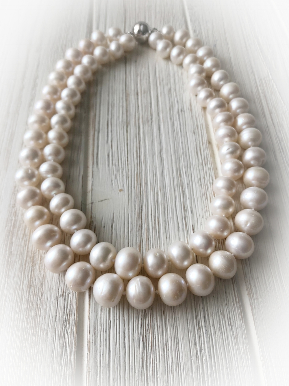 """Freshwater Pearl Necklace   10-11 mm pearls , 16 and 18"""" length with silver magnet clasp  To Purchase  email 88Jewels Ltd.  Please Include the name of item."""