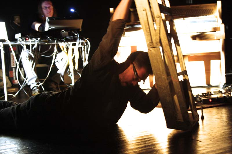 Blake-Plock and Thomas Dimuzio performing at High Zero 2012. Photo by Stewart Mostofsky.