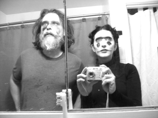 Blake-Plock and Risser preparing to perform as werewolves in 2007.