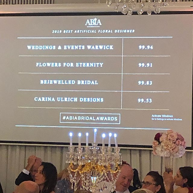 What an amazing night! We had such a great time celebrating an amazing year in the wedding industry! .  We are now ranked as number 4 in Queensland with only .41% between number one and four! How right the competition is! . Again, we can't thank our amazing brides and grooms enough 💕💐🙏 . #abiabridalawards #sunshinecoastweddingflorist #artificialweddingflorist