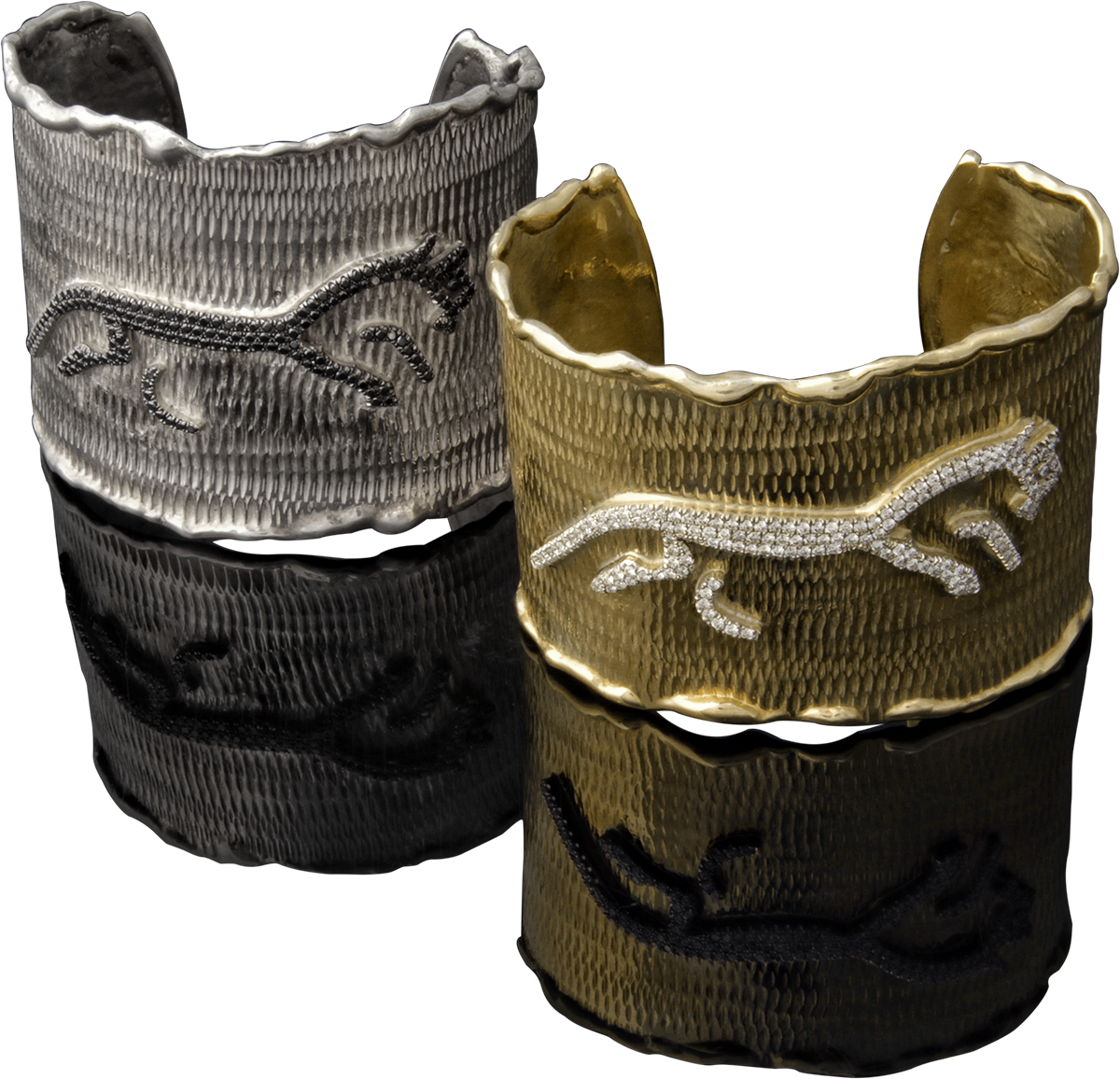 FRIDA | Fine Jewellery. Caribou Collection, Spirit cuffs. Custom designed sterling silver 18kt yellow gold cuffs with diamonds set in 18kt white gold. Inspired by the Uffington White Horse.png