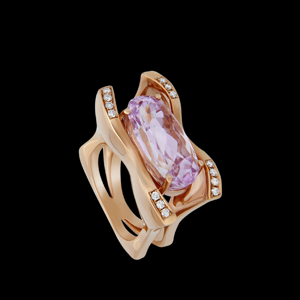 FRIDA | Fine Jewellery. Strata™ Collection. Kunzite and Diamond Ring.