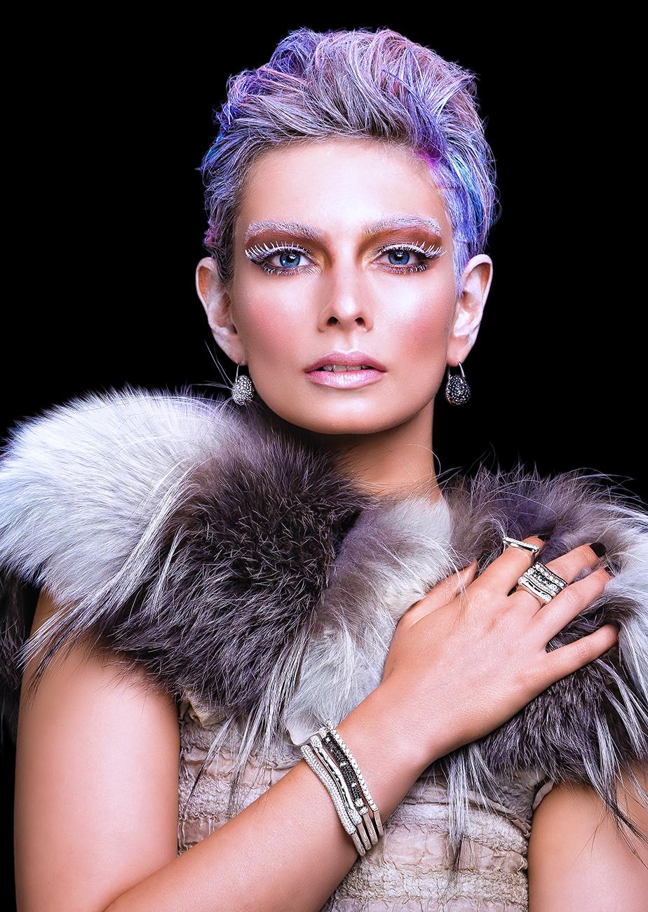 FRIDA   Fine Jewellery. Emma Lamb modeling custom designed black and white diamond stacking rings and bracelets.jpg
