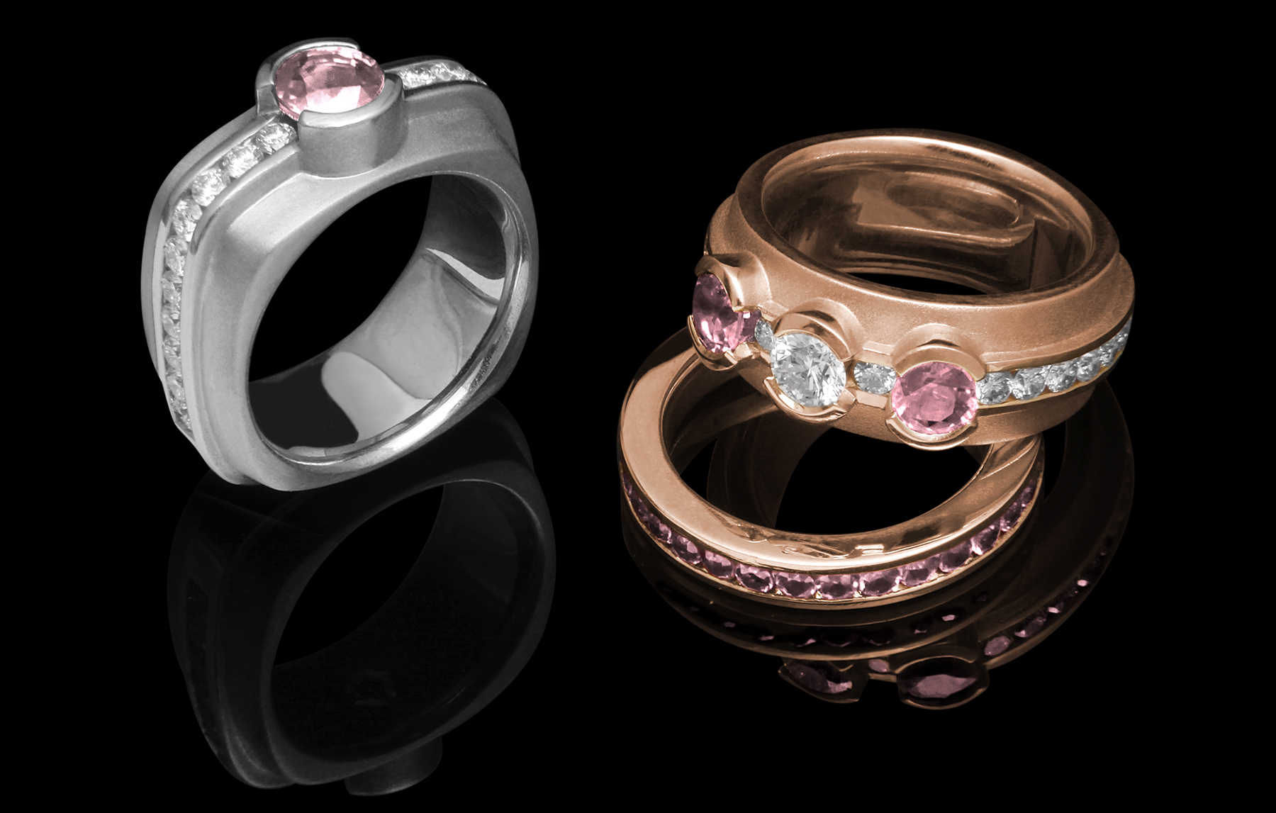 FRIDA | Fine Jewellery. Elska Collection. Diamonds and Sapphires. Round and Rounded-Square.