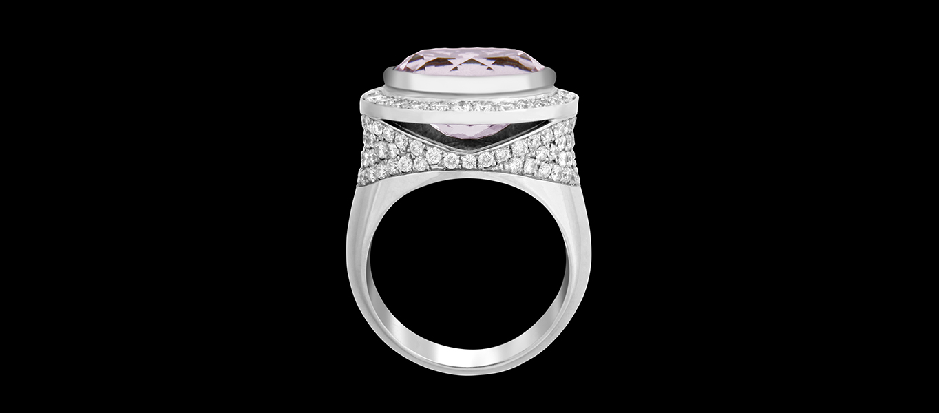 KUNZITE EMPRESS, FRIDA | Fine Jewellery. DIAMOND HALO, ENGAGEMENT RING.