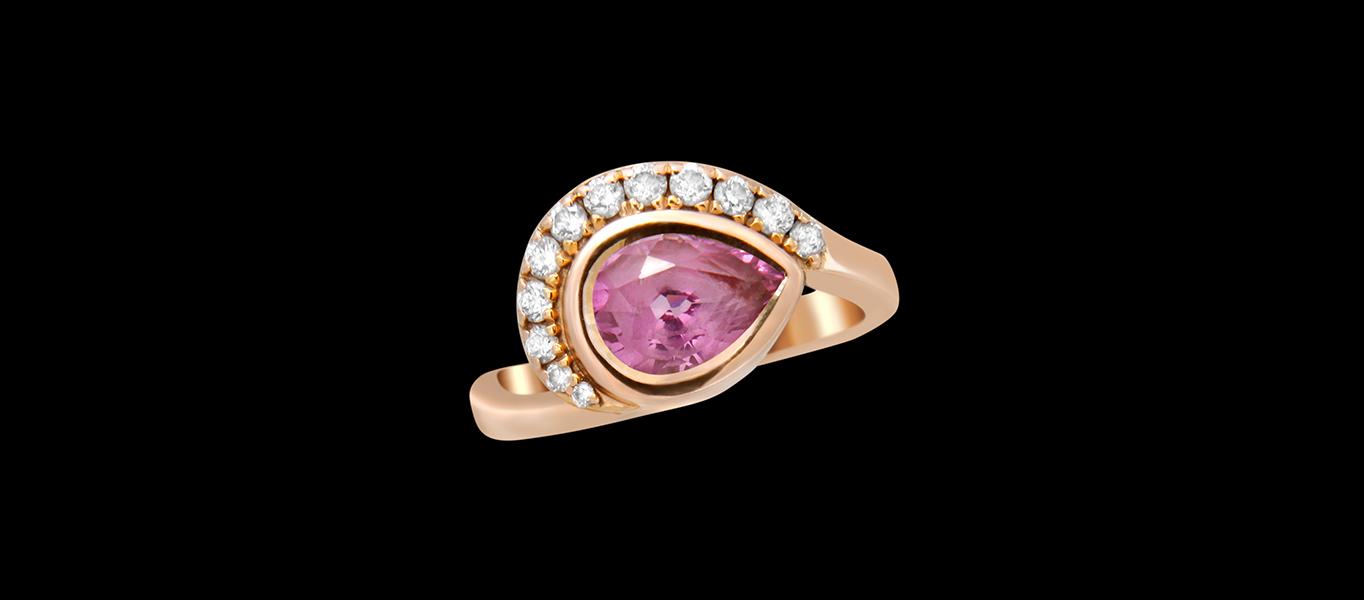 PINK SAPPHIRE PETAL, ENGAGEMENT RING.