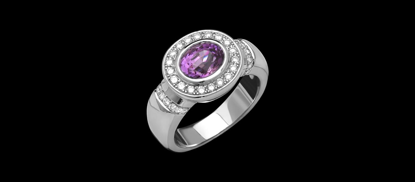FRIDA | Fine Jewellery. PURPLE SAPPHIRE, DIAMOND HALO, ENGAGEMENT RING.