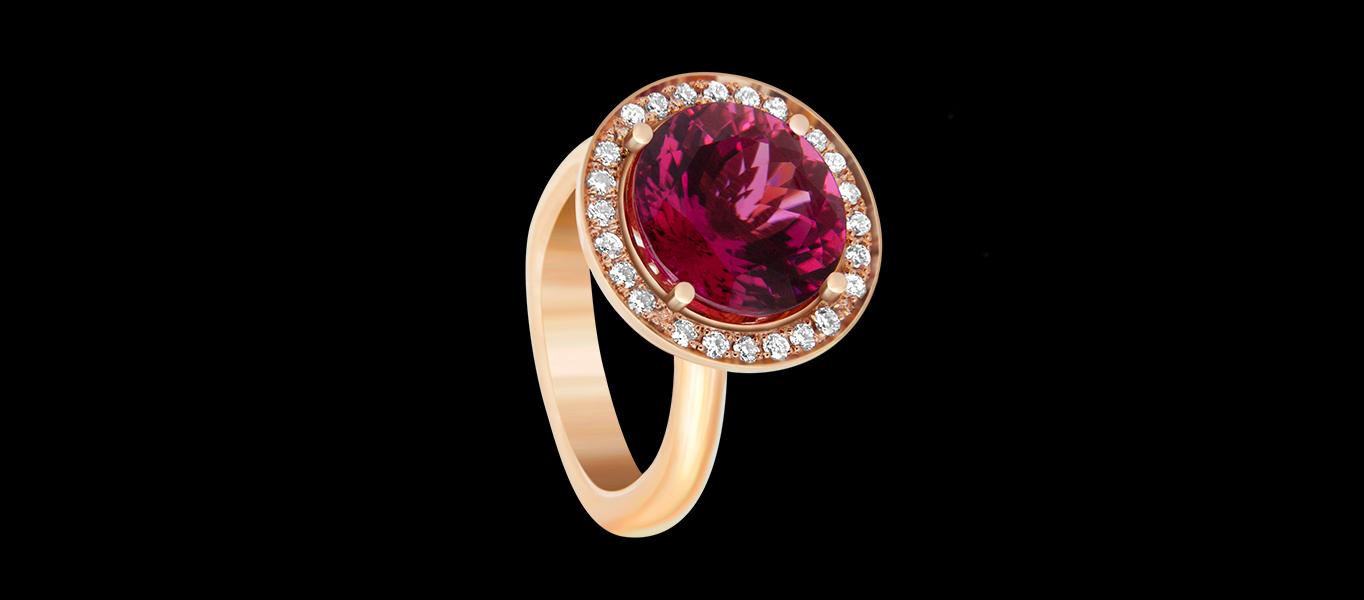 FRIDA | Fine Jewellery. RUBELLITE PEONY, ENGAGEMENT RING.