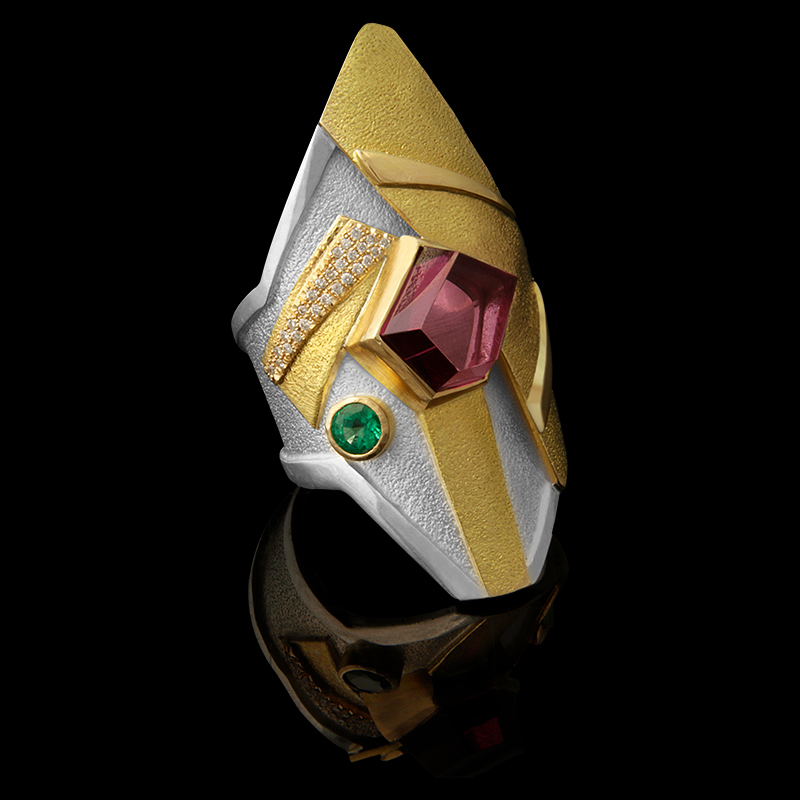 FRIDA | Fine Jewellery. Shield™ Collection, Vala ring. One-of-a-kind ring in sterling silver and 18kt yellow gold set with a fancy-cut siberite tourmaline, a faceted emerald and brilliant-cut diamonds.jpg