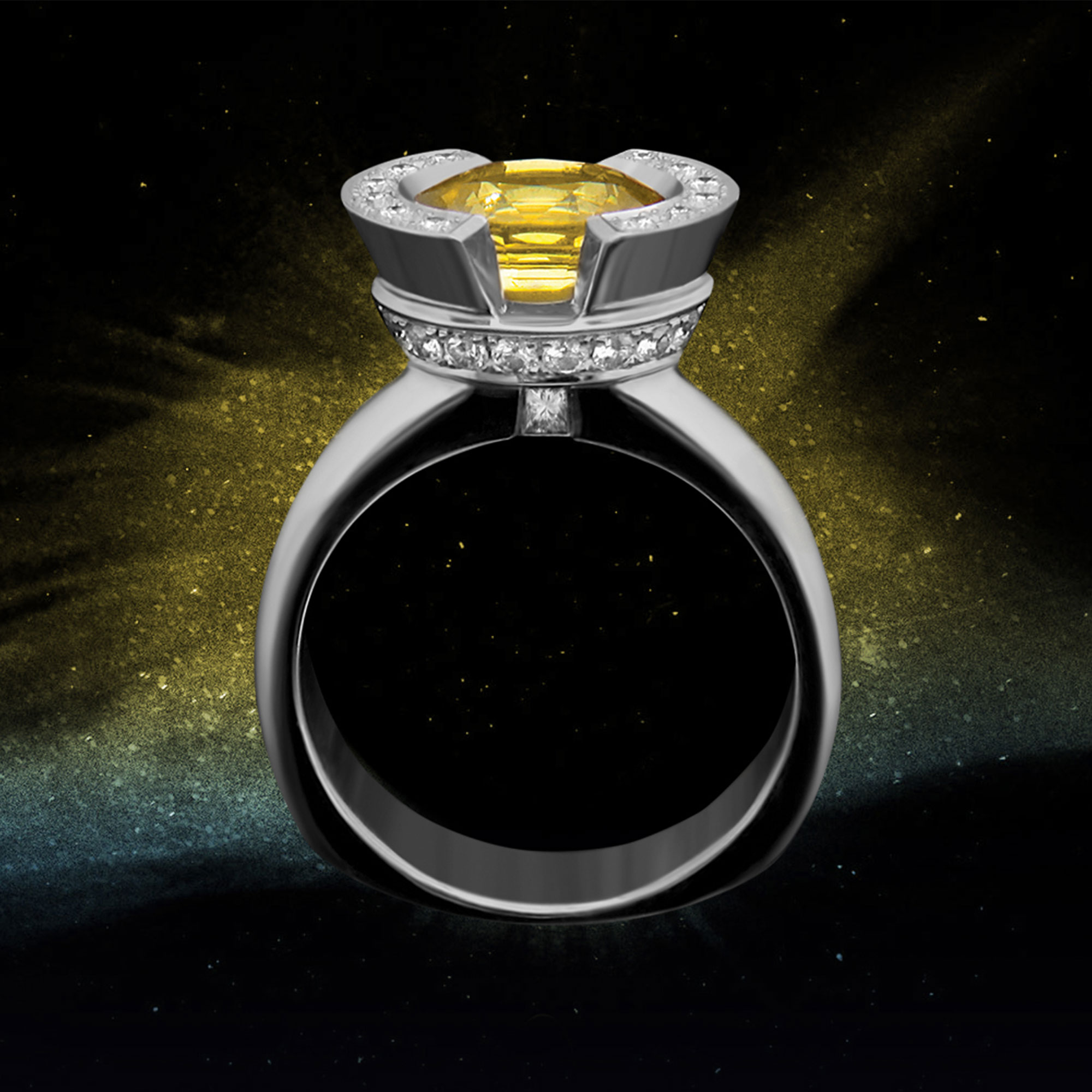 FRIDA | Fine Jewellery. Celestial Collection. Luna ring in 18kt white gold set with a yellow sapphire and diamonds.