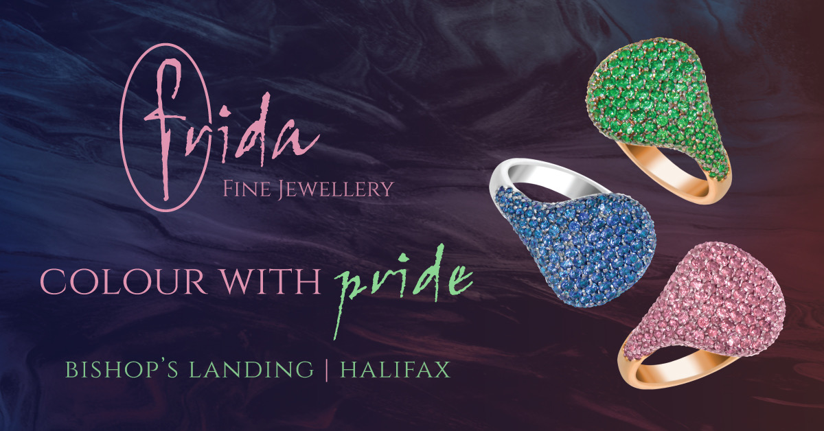 FRIDA. Colour with pride. Pinky rings in 18kt gold set with multi-coloured gemstones.