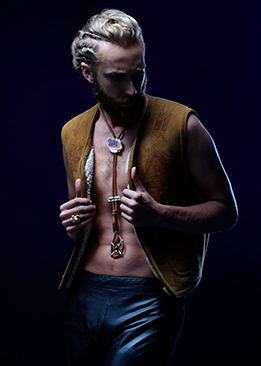 FRIDA | Fine Jewellery. Caribou Collection. Myles Sexton modelling Sunset bolo tie with agate and gemstones.