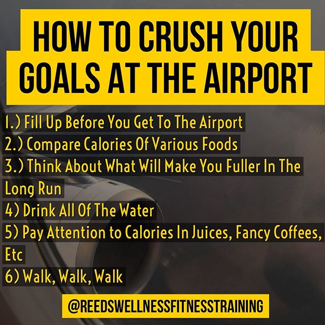 I'm in the process of crawling my way to the end of these 32hrs of flights & layovers. The biggest flight is about to take place as I leap the big pond.⁣⁣⁣⁣ ⁣⁣⁣⁣ So, I wanted to provide you with some tips to crush your goals while at the airport. I hope they help 😉👍.⁣⁣⁣⁣ ⁣ 1️⃣ 𝐅𝐢𝐥𝐥 𝐔𝐩 𝐓𝐡𝐞 𝐓𝐚𝐧𝐤⁣ Airport foods are expensive & high in calories. I highly recommend if you can fill up before getting to the airport, do it.⁣⁣⁣⁣ ⁣ 2️⃣ 𝐂𝐨𝐦𝐩𝐚𝐫𝐞 𝐅𝐨𝐨𝐝 𝐂𝐚𝐥𝐨𝐫𝐢𝐞𝐬⁣ You would be surprised if you grabbed a sandwich & compared it to another sandwich or compared a sandwich to a snack food. I found this sandwich that looked amazing — it was 1750 calories 😳. It's neighboring sandwich was 430 with different contents. Both were plentiful of protein.⁣⁣⁣⁣ ⁣ 3️⃣ 𝗪𝐡𝐚𝐭 𝗪𝐢𝐥𝐥 𝐌𝐚𝐤𝐞 𝐘𝐨𝐮 𝐅𝐮𝐥𝐥𝐞𝐫⁣ I mentioned comparing a sandwich to a snack. For me, I'd much rather have a meal any time of the day versus snacking. Snacking never keeps me full & all I want to do is eat more. Pay attention to what you are grabbing. Even though it might be lower in calorie, ask yourself if it'll keep you full without you binging later?⁣⁣⁣⁣ ⁣ 4️⃣ 𝐃𝐫𝐢𝐧𝐤 𝐓𝐡𝐞 𝗪𝐚𝐭𝐞𝐫⁣ We don't drink enough water as is. Through us in an airport & we ignore the water fountains placed in all of the right places. Stay hydrated fellow traveler.⁣⁣⁣⁣ ⁣ 5️⃣ 𝗪𝐚𝐭𝐜𝐡 𝐎𝐮𝐭 𝐅𝐨𝐫 𝐇𝐢𝐝𝐝𝐞𝐧 𝐂𝐚𝐥𝐨𝐫𝐢𝐞𝐬⁣ Just as if you were outside of the airport, be mindful of those calories in beverages. It's easy not to think about them since we are just drinking them but think about that of Starbucks fancy drink or buying some juice from the Airport store. It's not bad for you, but just be mindful of the calories.  Just because you're not eating them doesn't mean your body is not counting them.⁣⁣⁣⁣ ⁣ 6️⃣ 𝗪𝐚𝐥𝐤 𝐌𝐨𝐫𝐞, 𝐒𝐢𝐭 𝐋𝐞𝐬𝐬⁣ I just got off a 6 hour overnight flight & why in the world would I want to go sit again. The first thing I did since I have an 8hr layover ➡️ I walked the entire airport & annihilated 12k steps (3hrs to go). It might seem obvious, but for many it's not. I keep a close eye on my steps via my @garmin watch on the days I won't be running or working out.