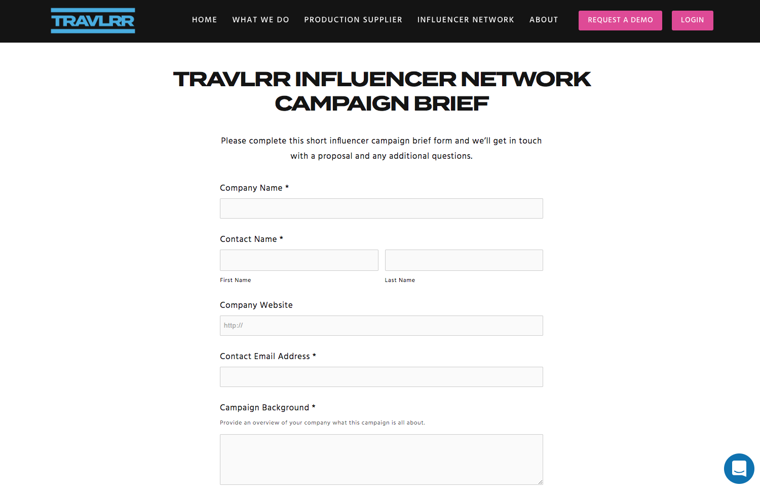 Travel Influencer briefing form