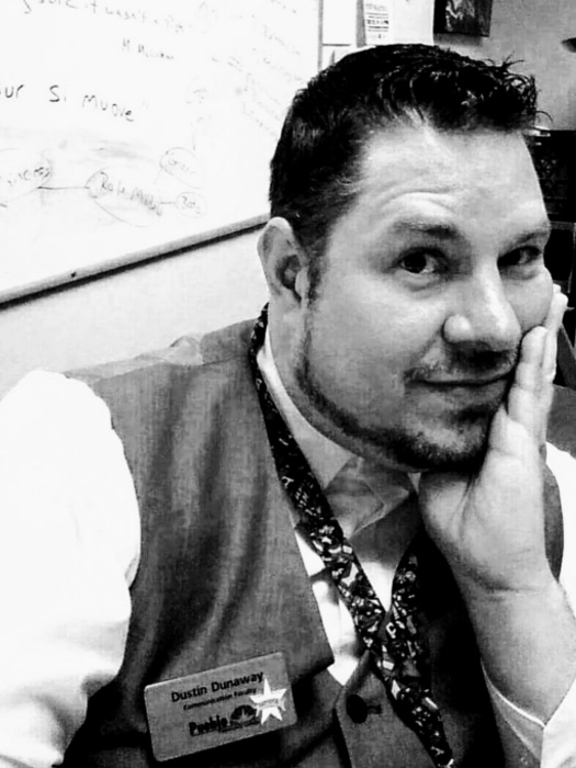 - Dustin Dunaway is the Chair of English & Communication at Pueblo Community College in Pueblo, Colorado. He teaches courses in Public Speaking, Interpersonal Communication, Gender Communication, Intercultural Communication, Small Group Communication as well as Leadership, Negotiation, and Conflict Resolution. His area of research focuses on the nexus of communication, rhetoric, and culture and their influence on individual identity. His published works can be found in At Home in the Whedonverse and Transmediating the Whedonverse from McFarland Press. When he's not teaching or researching, he makes films through his production company, Cool Channel Films. Stick around long enough, and he'll probably find a way to ruin your childhood.Dustin's work can be found in The Politics of Race, Gender and Sexuality in The Walking Dead: Essays on the Television Series and Comics here.