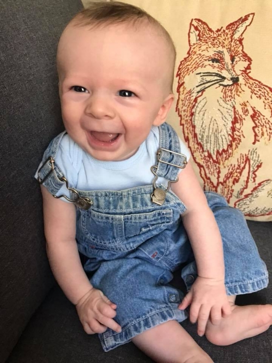 You'll get to this point before you know it! Smiling, happy baby!