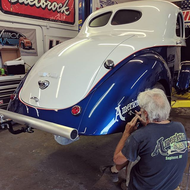 Our painter laying down some hand lettered graphics on the back of a Gasser that's about to go to it's new owner 🖌️🔥 . . . #american_gasser #americanmuscle #gasser #customcars #fabrication #hotrod #hotrods #classiccars #musclecars #racecar #classicsdaily #streetcar #custom #projectcar #streetmachine #musclekings #gearhead #smallblock #bigblock #hotrodsandmusclecars #gassernationusa #handpainted #handlettered #pinstriping #signpainter #respecttradition