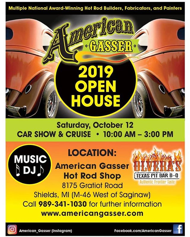Mark your calendar! Our fall open house is coming up Oct 12. We are going big with NEW events this year! Olvera's BBQ food truck will be serving up some amazing Texas style BBQ all day for starters. AND we are stocked to announce that this will be our first annual car cruise immediately following the show! That's right, we will be doing an approx 30min cruise over to Baynes Apple orchard in Freeland where we will be having a post car show hangout; complete with cider, doughnuts, and more. You will not want to miss this show! . . . #american_gasser #americanmuscle #gasser #customcars #fabrication #hotrod #hotrods #classiccars #musclecars #racecar #classicsdaily #streetcar #custom #projectcar #streetmachine #musclekings #gearhead #smallblock #bigblock #hotrodsandmusclecars #gassernationusa #carcruise #carshow